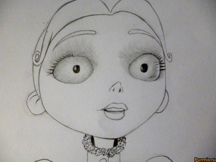 Как нарисовать Викторию Эверглот из Труп невесты поэтапно - шаг 5