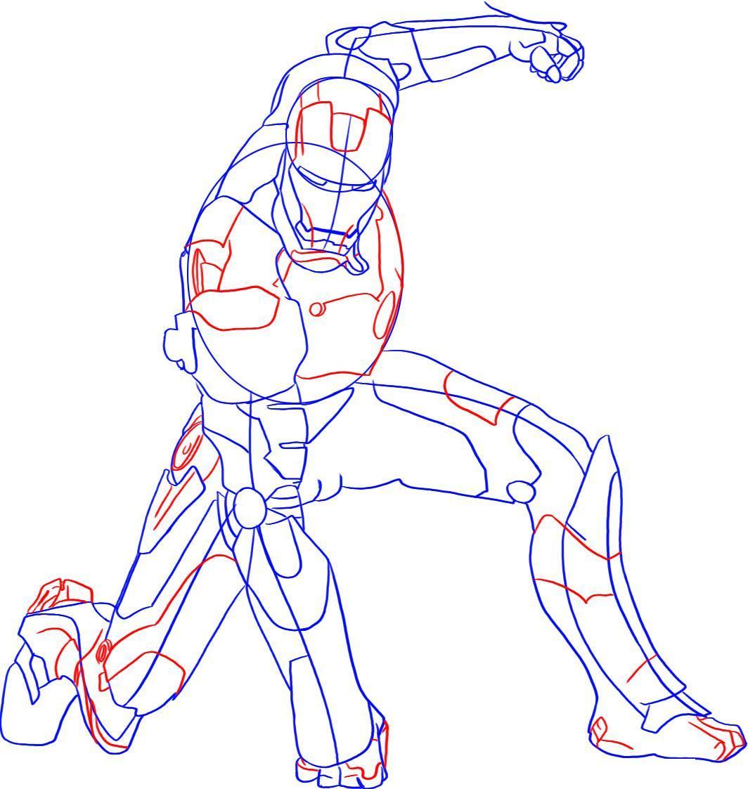Рисуем лего железного человека - шаг 5