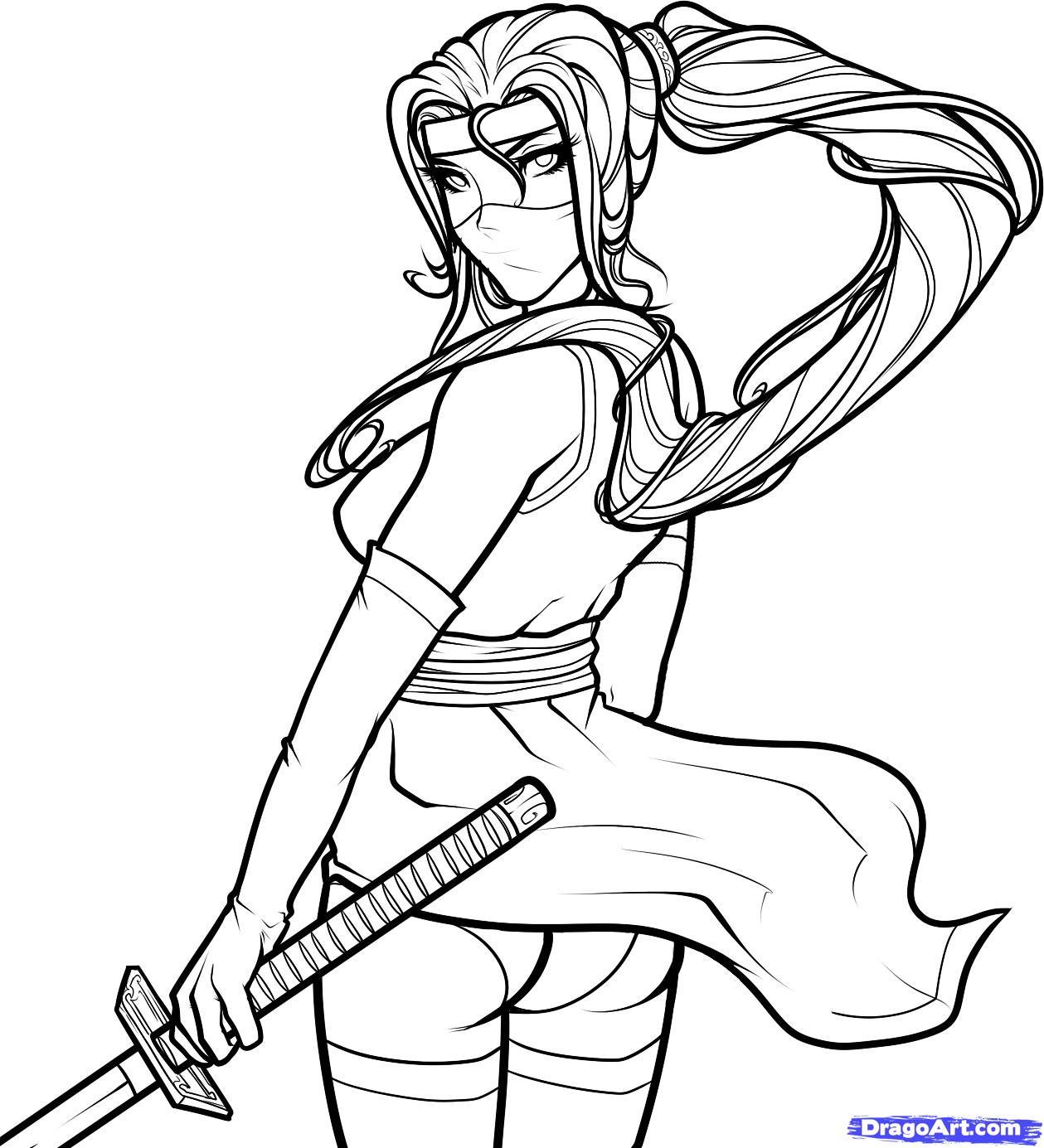 Drawing Lines In Html : Как нарисовать женщину ниндзя карандашом поэтапно