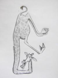 Фото жирафа Мелмана из Мадагаскара карандашом