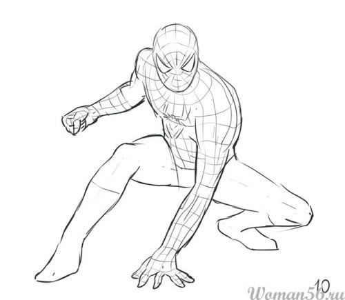 Рисуем Человека-Паука - шаг 10