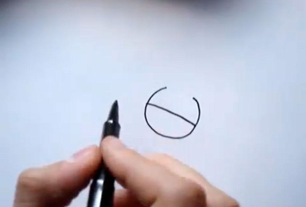 Как быстро нарисовать голову Барта Симпсона - шаг 1