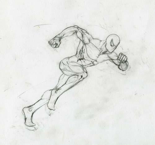 Человек-паук в БЕГЕ урок рисования - шаг 5