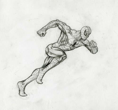 Человек-паук в БЕГЕ урок рисования - шаг 7