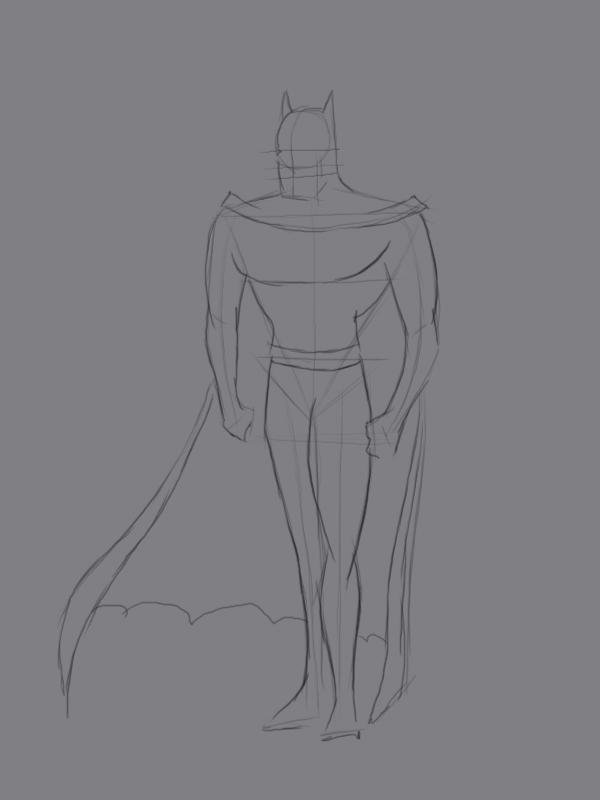 Учиться рисовать Бэтмена - шаг 3