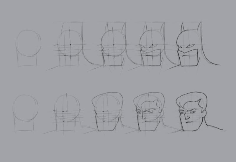 Учиться рисовать Бэтмена - шаг 6