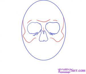 Как рисовать черепа карандашами - шаг 3