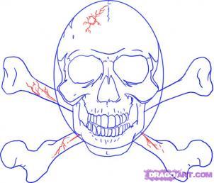 Рисуем череп с костями и Череп Карателя