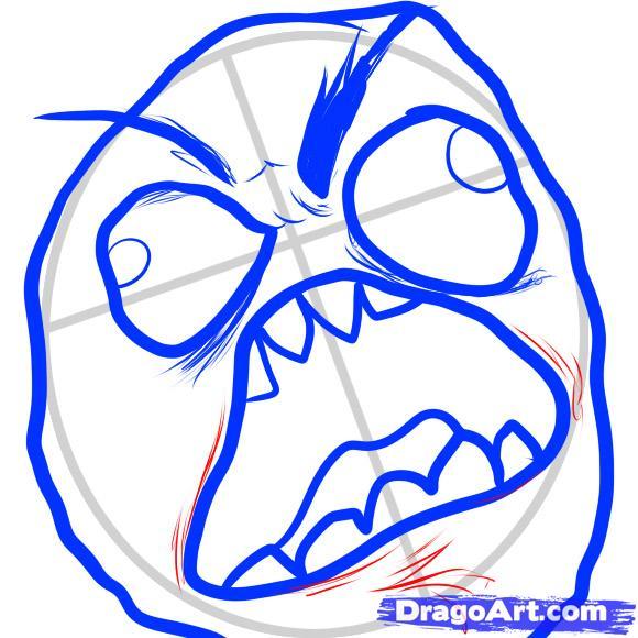 Как нарисовать мема в ярости Rage Face карандашом поэтапно