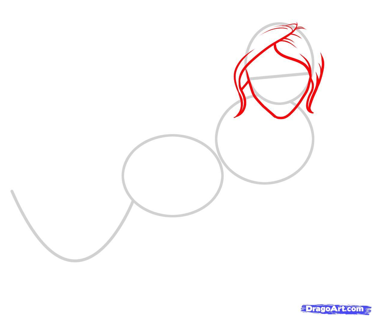 Рисуем русалку  для начинающих - шаг 2