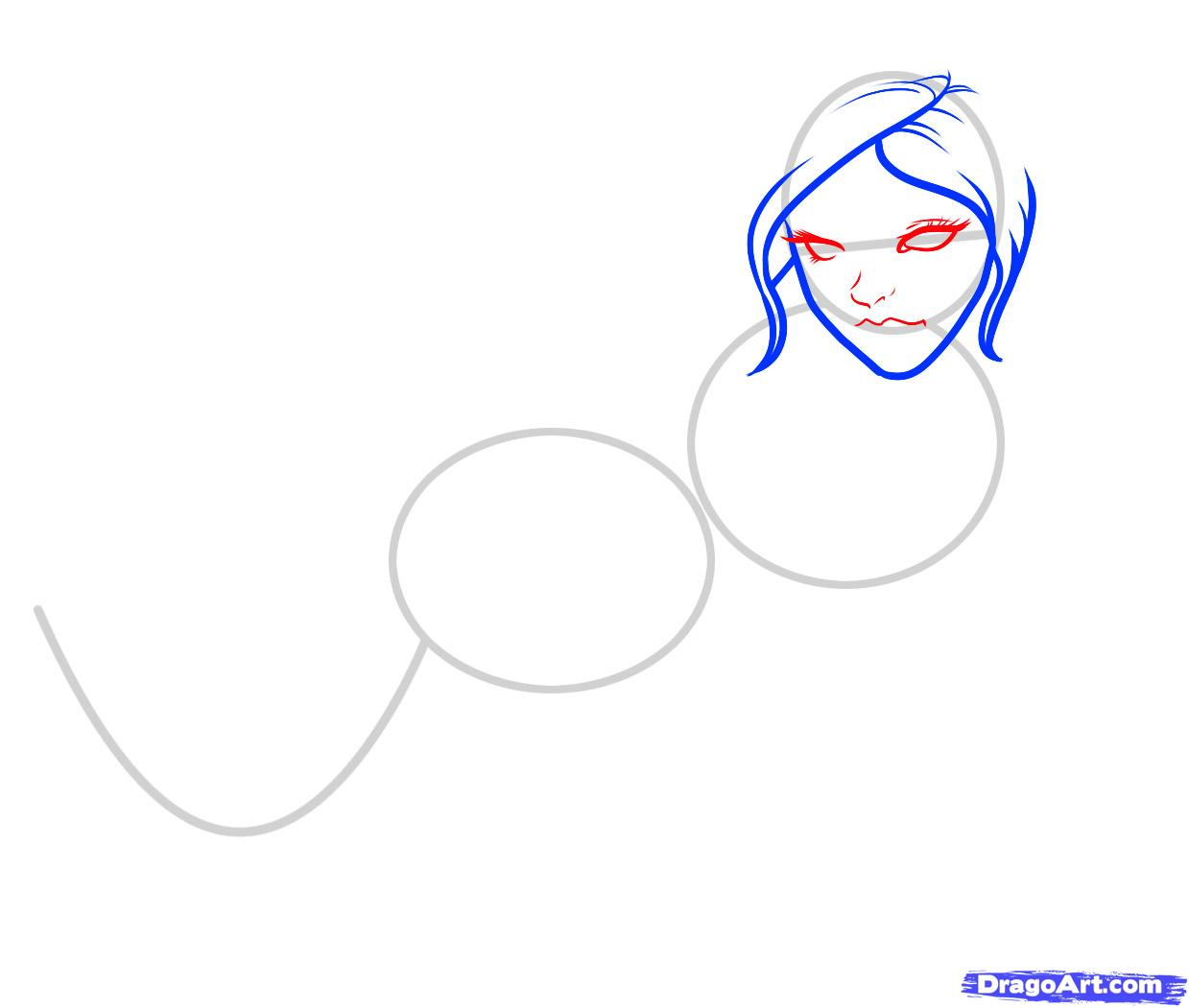 Рисуем русалку  для начинающих - шаг 3