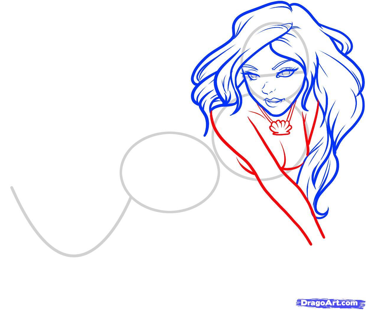 Рисуем русалку  для начинающих - шаг 6