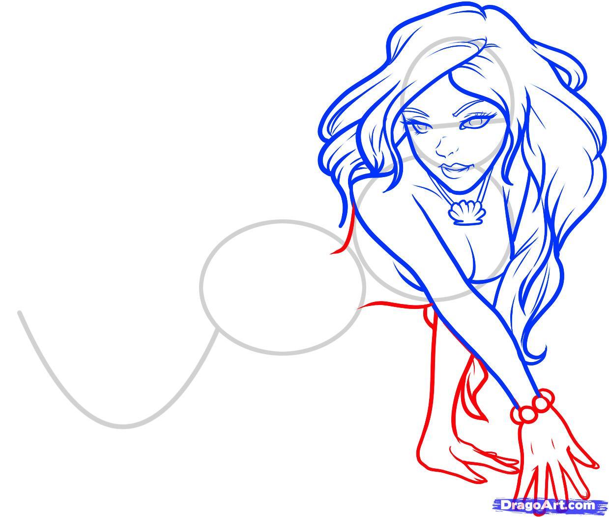 Рисуем русалку  для начинающих - шаг 7