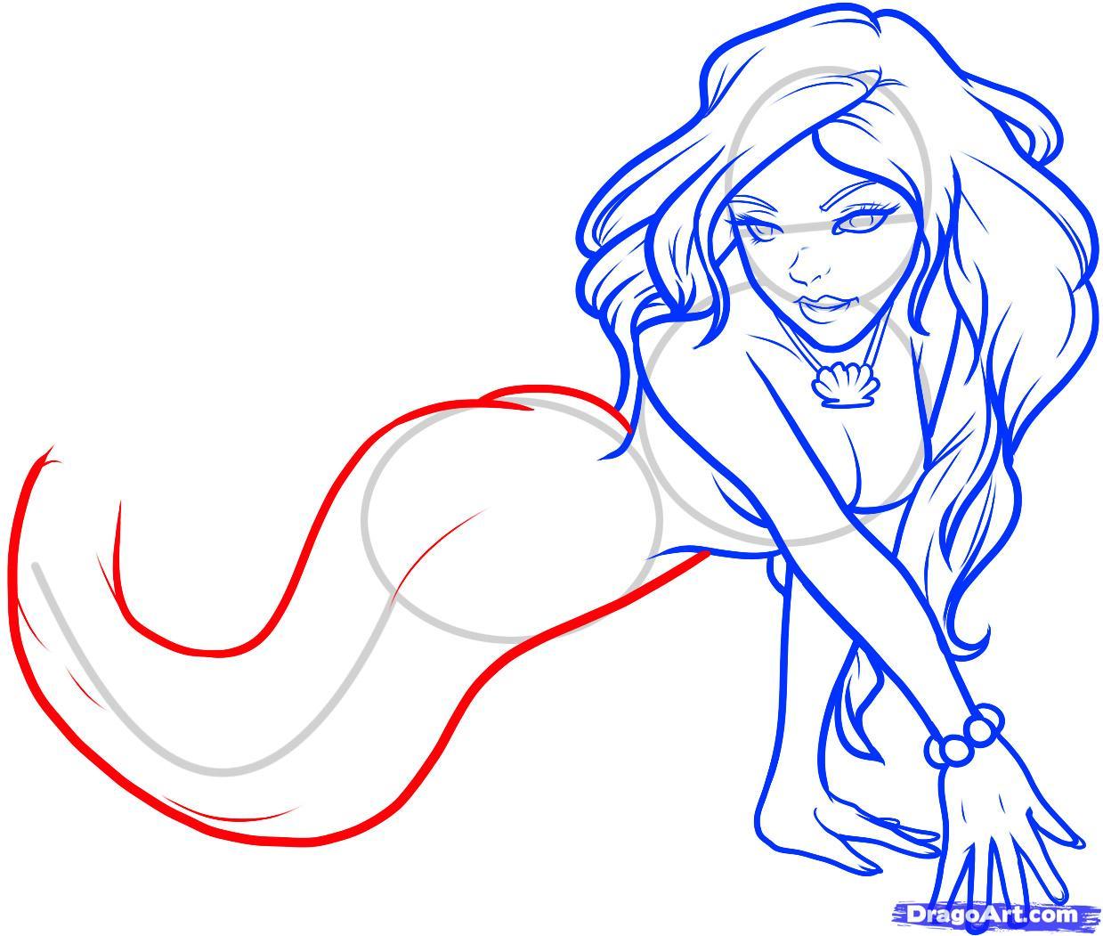 Рисуем русалку  для начинающих - шаг 8