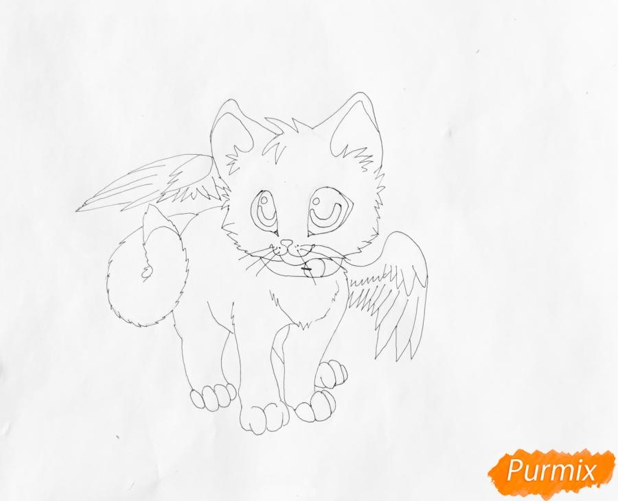 Рисуем аниме барсёнка с крыльями - шаг 7