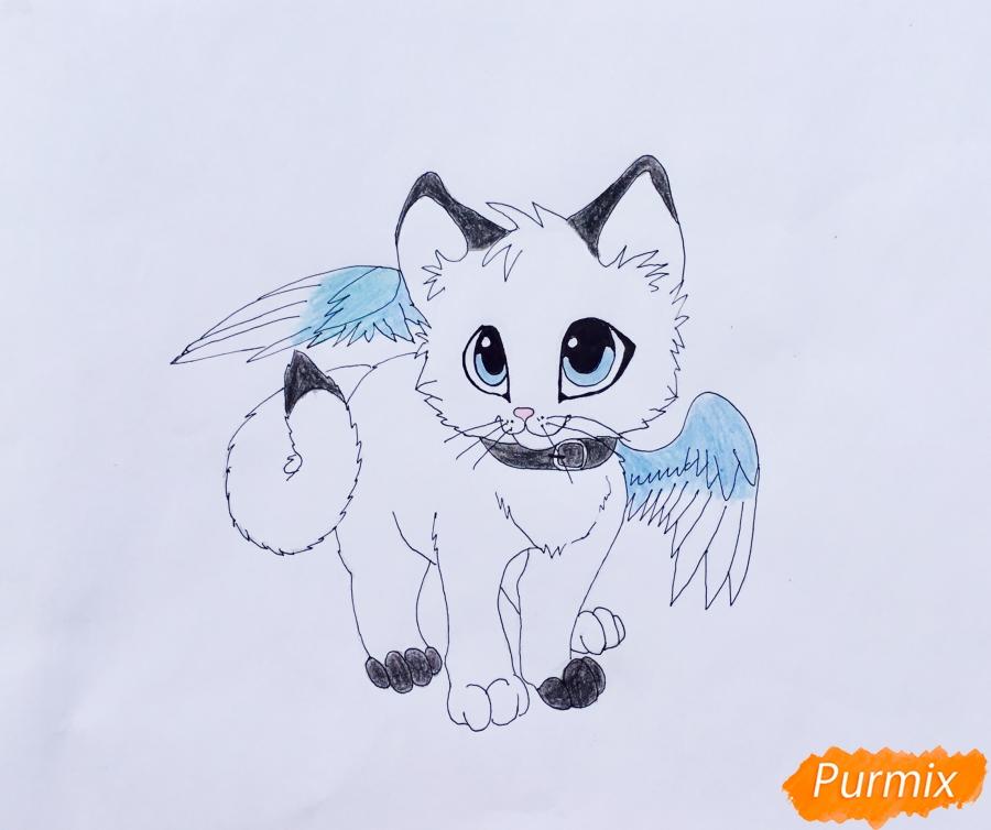 Рисуем аниме барсёнка с крыльями - шаг 8