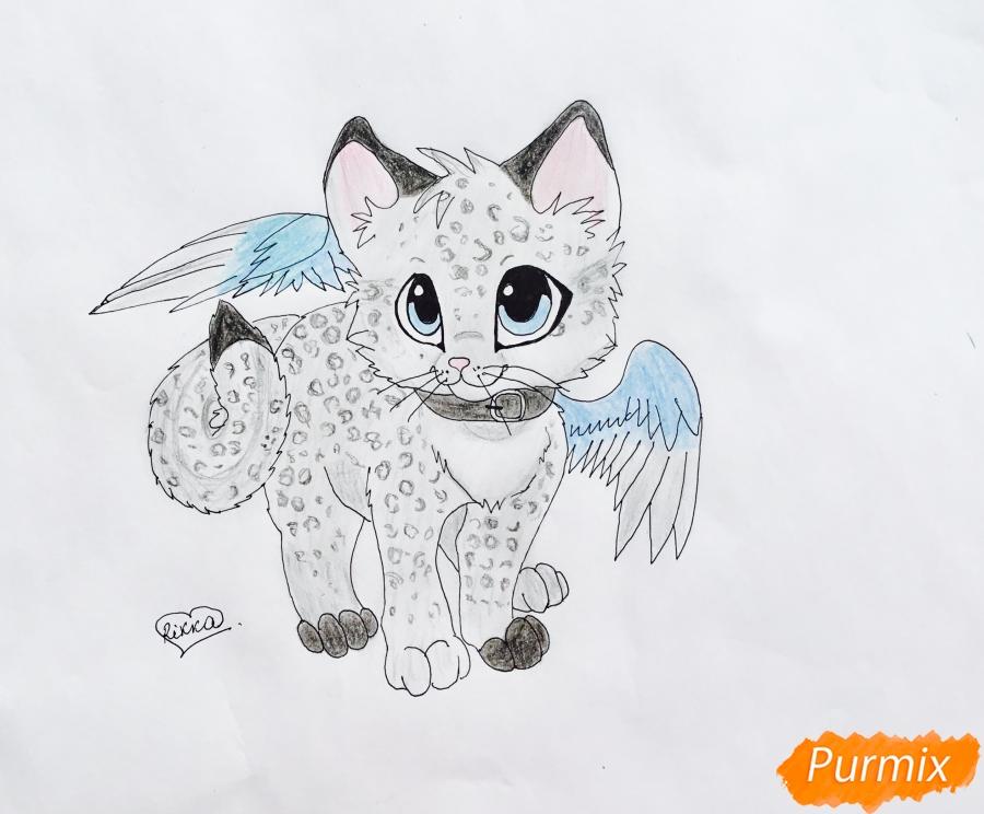 Как нарисовать аниме барсёнка с крыльями карандашом поэтапно