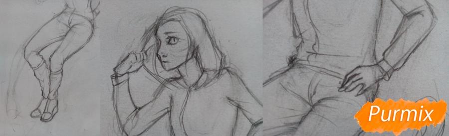 Рисуем девушку-кошку в капюшоне - шаг 7