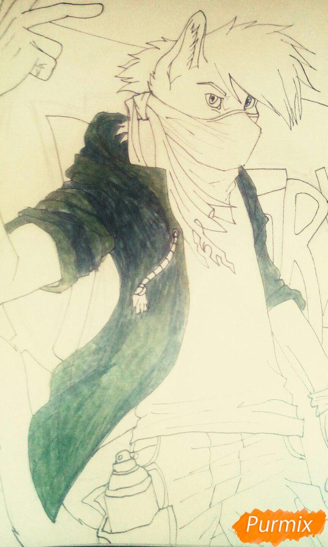 Рисуем и раскрасить фурри парня карандашами - шаг 10