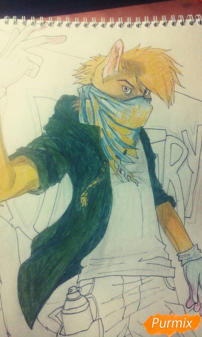 Рисуем и раскрасить фурри парня карандашами - шаг 11