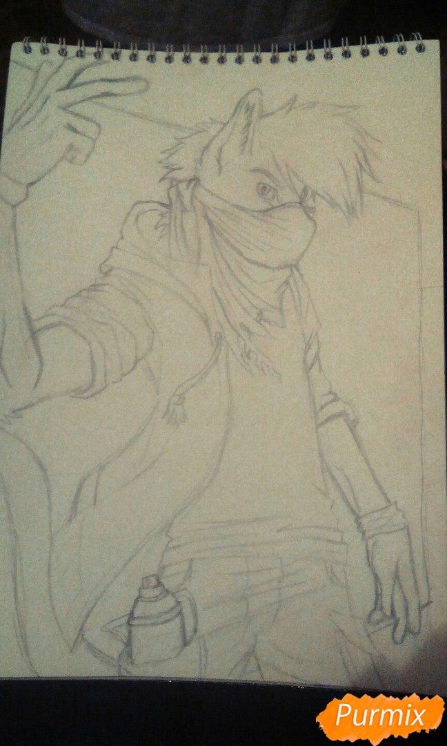 Рисуем и раскрасить фурри парня карандашами - шаг 7