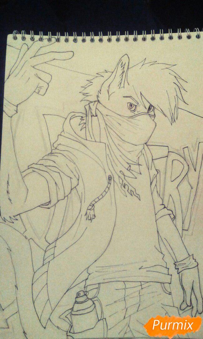 Рисуем и раскрасить фурри парня карандашами - шаг 9