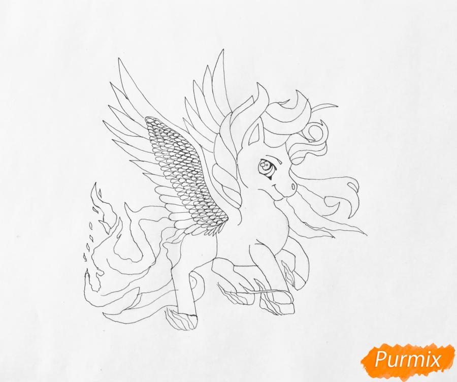 Рисуем огненного пони с крыльями - шаг 6