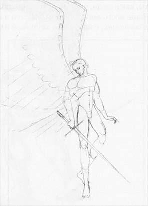 Рисуем Ангела с мечом