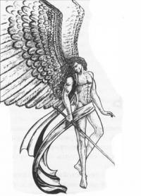 Ангела с мечом карандашом
