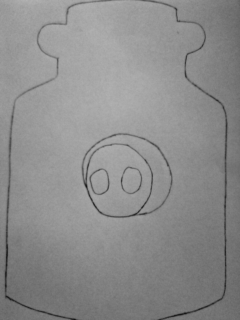 Как нарисовать безглазого Джека в банке карандашом поэтапно - шаг 2