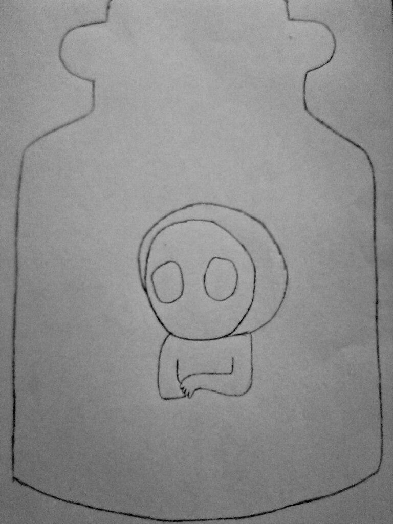 Как нарисовать безглазого Джека в банке карандашом поэтапно - шаг 3