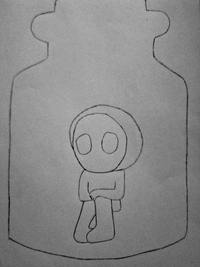 Как нарисовать безглазого Джека в банке карандашом поэтапно - шаг 4