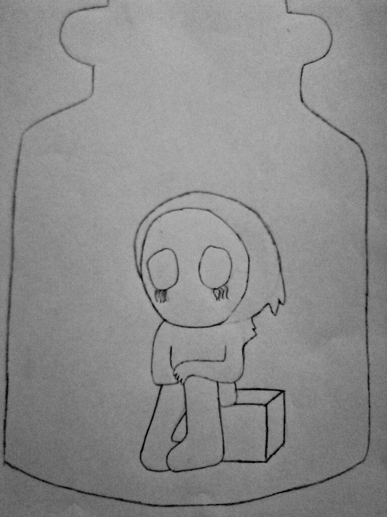 Как нарисовать безглазого Джека в банке карандашом поэтапно - шаг 5