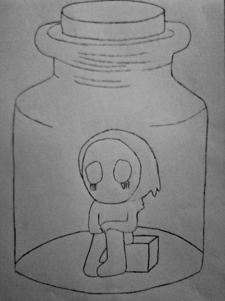 Как нарисовать безглазого Джека в банке карандашом поэтапно - шаг 6