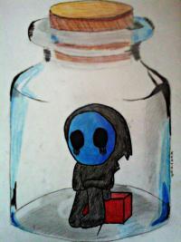 Рисунок безглазого Джека в банке