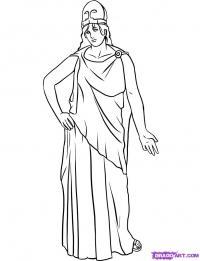 богиню Афину карандашом