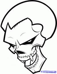 череп вампира карандашом