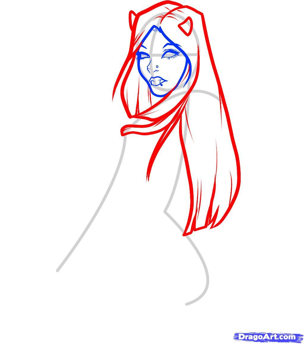 Рисуем девушку-дьявола