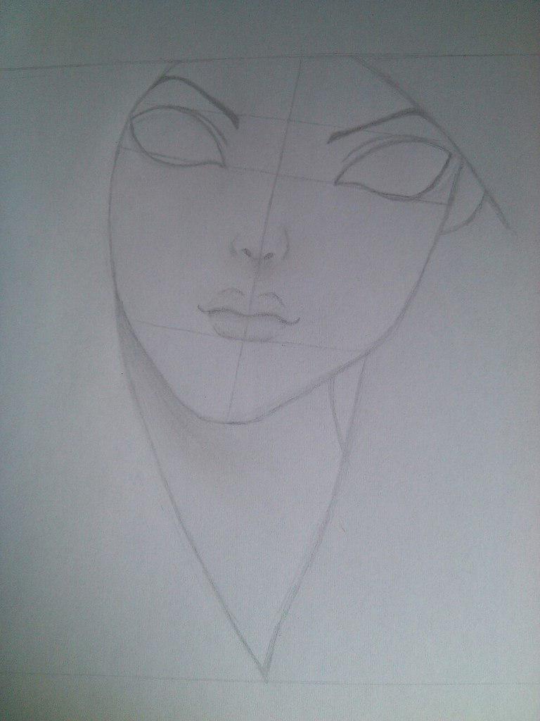 Как нарисовать девушку с черными глазами поэтапно - шаг 3