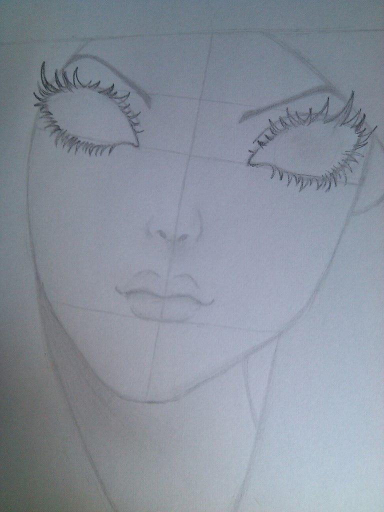 Как нарисовать девушку с черными глазами поэтапно - шаг 4