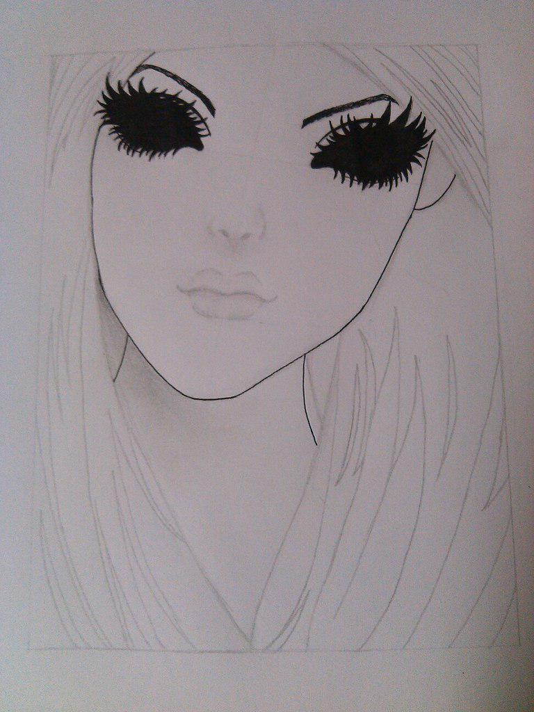 Как нарисовать девушку с черными глазами поэтапно - шаг 6