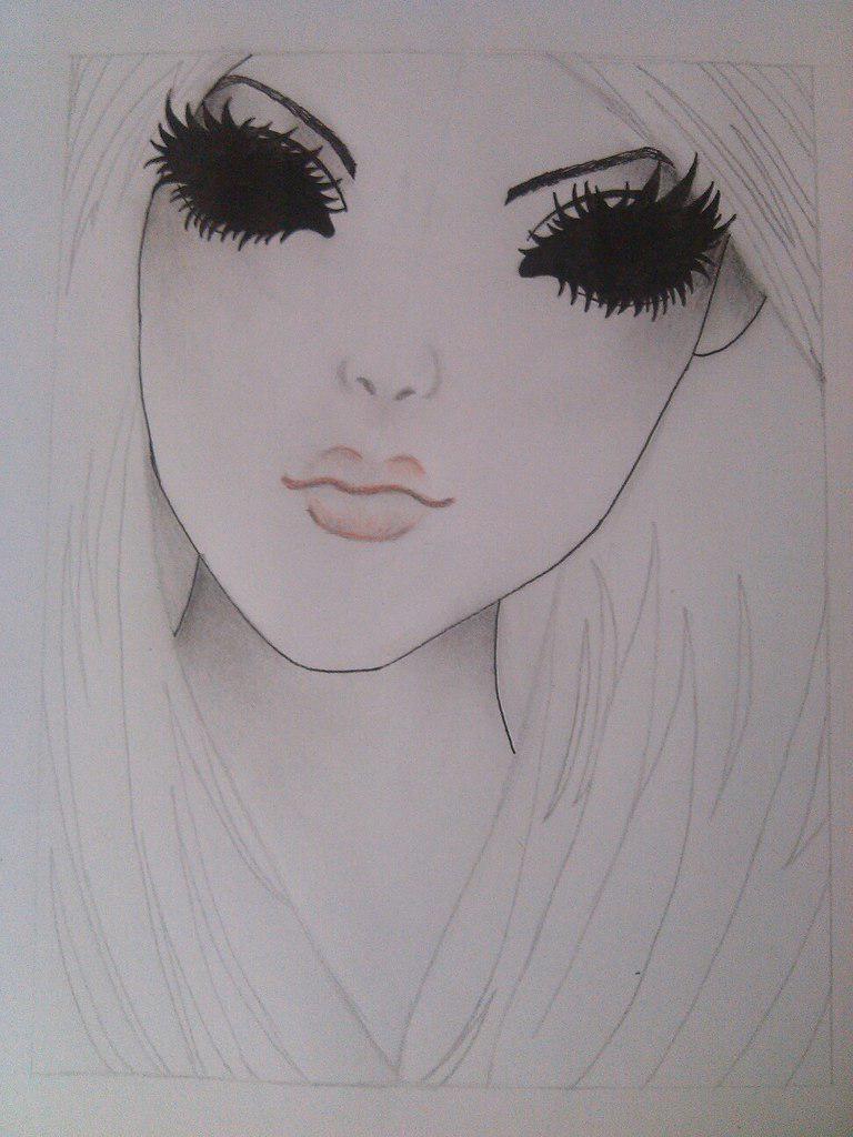 Как нарисовать девушку с черными глазами поэтапно - шаг 7