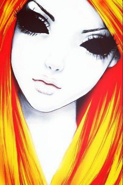 Рисуем девушку с черными глазами