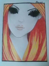 Рисунок девушку с черными глазами