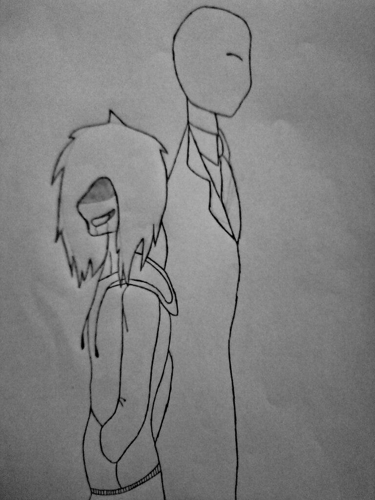 Как нарисовать Джеффа и Слендермена карандашом поэтапно - шаг 8