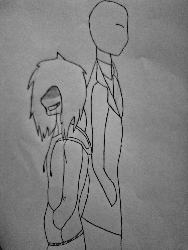 Как нарисовать Джеффа и Слендермена карандашом поэтапно - шаг 9