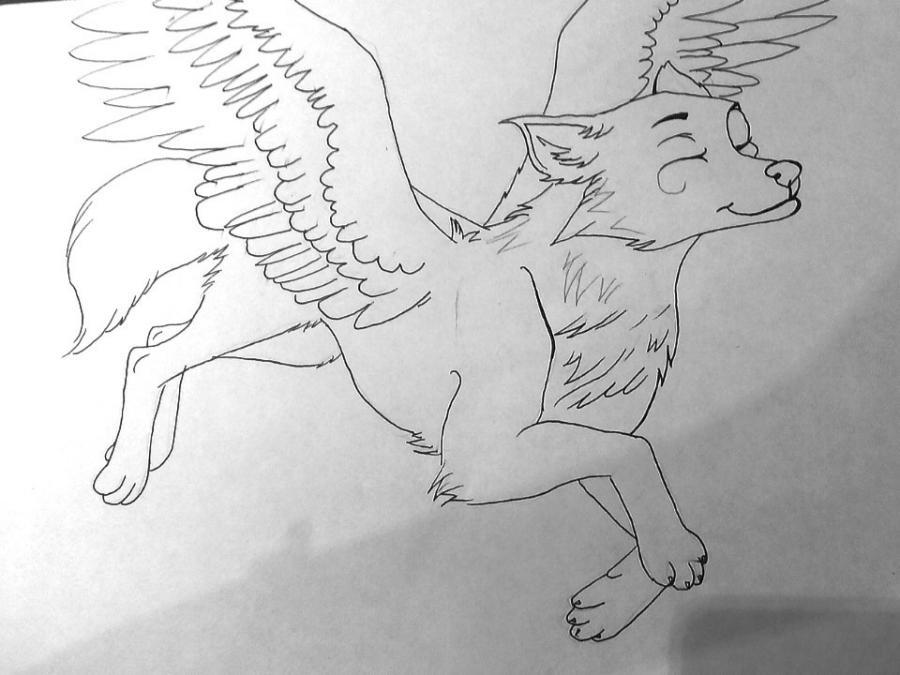 Рисуем фэнтези волчицу в полете карандашами - шаг 10