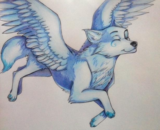 Как нарисовать фэнтези волчицу в полете карандашами поэтапно