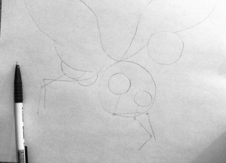 Рисуем фэнтези волчицу в полете карандашами - шаг 4