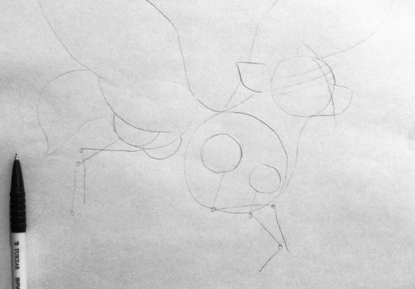 Рисуем фэнтези волчицу в полете карандашами - шаг 5